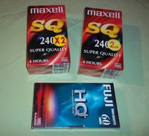 LOT 5 CASSETTES K7 TAPE VHS MAXELL SQ 240MNS - 4 H / FUJI HQ+ 60MNS - 1H NEUVES - Other