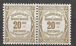France Timbre Taxe YT N° 45 En Paire Neufs ** MNH. TB. A Saisir! - 1859-1955 Nuevos