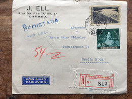 PORTUGAL 1953 Registered Lisbon Air Mail Cover To Berlin - Lettere