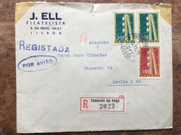 PORTUGAL 1955 Registered Terreiro Do Paco Air Mail Cover To Berlin - Lettere