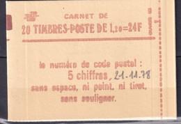 SABINE - CARNET  20 TIMBRES - YVERT N° 1974 SANS NUMERO CONFECTIONNEUSE ** MNH - DATE 1978 - GOMME BRILLANTE - Usados Corriente