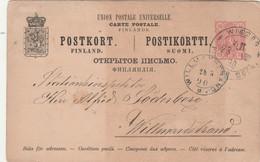 Finlande Entier Postal Carte WIBORG 28/8/1890 Pour Willmanstrand - Postal Stationery