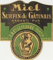 MIEL : 2 étiquettes Pour Coller Sur Pots - Etretat (Rucher Raynal - Gommée) - Surfin Du Gâtinais (Pantin). - Unclassified