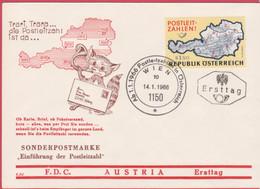 FDC Ö-1966 - Mi 1201 (72) , Einführung Der Postleitzahlen In Österreich , SST 1150 Wien - FDC
