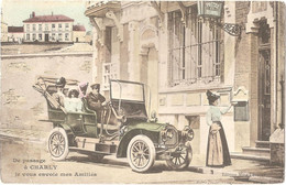 Dépt 02 - CHARLY-SUR-MARNE - De Passage à CHARLY Je Vous Envoie Mes Amitiés - (fantaisie - Automobile) - Other Municipalities