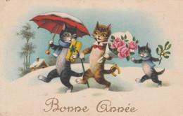 CPA Animal Humanisé Position Humaine Chat Noir Black Cat Catze Parapluie Rose Gui Illustrateur  2 Scans - Gatos