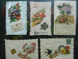 Lot De 5 CPA  Gauffrées   Découpis  Ajouts - Flowers