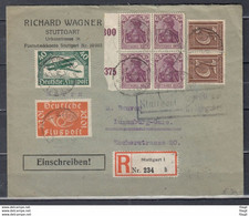 Reccomandée Brief Van Stuttgart Naar Luxemburg-Gare Richard Wagner (1098) - Airmail