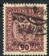 Trentino - Alto Adige 1918 Sass. N. 14 H 90 Lilla Rosso Usato Cat. € 6000 Quattro Firme Tra Cui A. Diena - Trente
