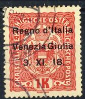 Trentino - Alto Adige 1918 Sass. N. 15 K 1 Rosa Su Giallo Usato Cat. € 220 Tre Firme Tra Cui A. Diena - Trente