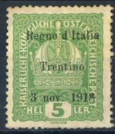Trentino - Alto Adige 1918 Sass. N. 2 H 5 Verde Giallo MLH Cat. € 12 - Trente