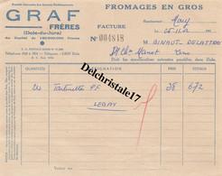 39 0001 DOLE-du-JURA 1952 Fromages En Gros GRAF. Frères Représentant MARY Tartinette à M. BINAUT-DELATTRE - 1950 - ...