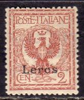 COLONIE ITALIANE EGEO 1912 LERO (LEROS) CENT. 2c MNH BEN CENTRATO - Egée (Lero)
