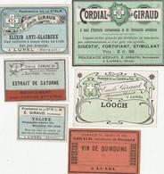AUTRE COLLECTION 44 :  Lot De 6 étiquettes Pharmaceutique E Giraud Pharmacie Du Chemin De Fer A Lunel - Medizinische Und Zahnmedizinische Geräte