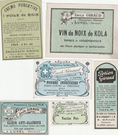 AUTRE COLLECTION 45 :  Lot De 6 étiquettes Pharmaceutique E Giraud Pharmacie Du Chemin De Fer A Lunel - Medizinische Und Zahnmedizinische Geräte
