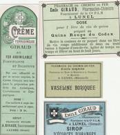 AUTRE COLLECTION 46 :  Lot De 4 étiquettes Pharmaceutique E Giraud Pharmacie Du Chemin De Fer A Lunel - Medizinische Und Zahnmedizinische Geräte