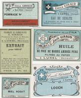 AUTRE COLLECTION 47 :  Lot De 6 étiquettes Pharmaceutique E Giraud Pharmacie Du Chemin De Fer A Lunel - Medizinische Und Zahnmedizinische Geräte