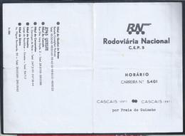 Horário Rodoviária Nacional Da Carreira Cascais - Praia Do Guincho - Cascais. Schedule Of National Bus Station. - Europa