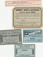 AUTRE COLLECTION 48 :  Lot De 5 étiquettes Pharmaceutique E Giraud Pharmacie Du Chemin De Fer A Lunel - Medizinische Und Zahnmedizinische Geräte