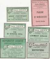 AUTRE COLLECTION 49 :  Lot De 6 étiquettes Pharmaceutique E Giraud Pharmacie Du Chemin De Fer A Lunel - Medizinische Und Zahnmedizinische Geräte
