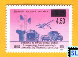 Sri Lanka Stamps 2007, Transport And Communication Decade, Ship, Auroplane, Train, Surcharge, MNH - Sri Lanka (Ceylon) (1948-...)