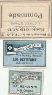 AUTRE COLLECTION 51 :  Lot De 3 étiquettes Pharmaceutique E Giraud Pharmacie Du Chemin De Fer A Lunel - Medizinische Und Zahnmedizinische Geräte