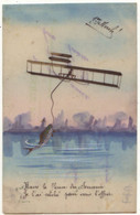 N°17708 - Carte Celluloïd - 1er Avril - Homme Dans Un Avion Pêchant - 1° Aprile (pesce Di Aprile)