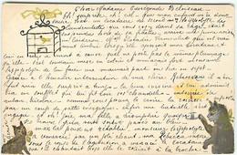 N°17749 - Carte Peinte à La Main - Chats, L'un Tenant Un Bougeoir Et Regardant Un Oiseau Dans Une Cage - Otros