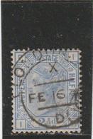 "GB 1881: 2 1/2 D QV Blue Pl. 22, Wmk. ""crown"" Used; S.G.-Sp. J 25 Pl. 23      O - Usati"