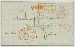 """LàC 1848 De New York Pour Paris. """"Par Steamer De Boston"""". Entrée Par L'Angleterre. Colonies. - 1801-1848: Vorläufer XIX"""