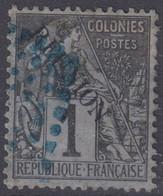 REUNION : ALPHEE DUBOIS 1c NOIR N° 17 OBLITERATION LOSANGE DE POINTS BLEUS - Used Stamps