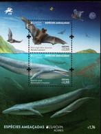Portugal - Azores - 2021 - Europa CEPT - Endangered Wildlife - Noctule Bat And Blue Whale - Mint Souvenir Sheet - Azores