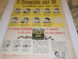 ANCIENNE  PUBLICITE LE FRANCAIS DIFFICILE CAFE DE NESCAFE  1956 - Posters