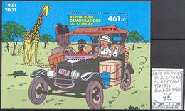 [107326]TB//**/Mnh-Republique Du Congo 2001 - BL205 (COB)/67 (YV), Tintin Au Congo, Surcharge SHANGAI, Bandes Dessinées, - Cómics