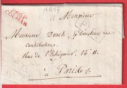 MARQUE P66P COLMAR HAUT RHIN EN ROUGE 1817 PsPs PARIS 25X81/2 INDICE 16 - 1801-1848: Precursors XIX
