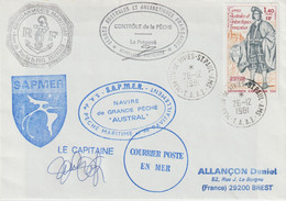 13780  Navire AUSTRAL - SAPMER - St PAUL&AMSTERDAM - 26/12/1981 - Cartas
