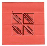Document Interne La Poste Etiquette (CONTRE) REMBOURSEMENT R1 Pour L'étranger. Planche Complète De 4 étiquettes - Documents Of Postal Services