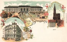 67 Strasbourg Strassburg Gruss Aus Hotel Monopol Bahnhofplatz Munster Illustration - Strasbourg