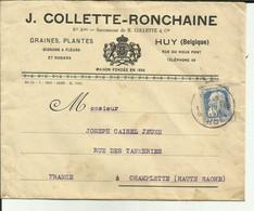 Belgique- Huy- Enveloppe J.Collette-Ronchaine - Rue Du Vieux Port- Plante-Timbre Perforé - Philatélie -1911 -Réf . 57. - 1900 – 1949