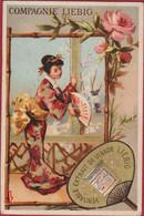 Liebig Compagnie Eventail Femme Japonaise Japon Japan Girl Geisha Dorée S 71 Reclame Publicite Chromo Publicitaire - Liebig