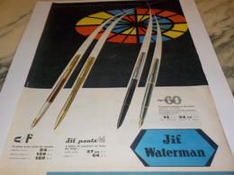 ANCIENNE  PUBLICITE  CADEAU COMMUNION ET JIF WATERMAN 1960 - Other