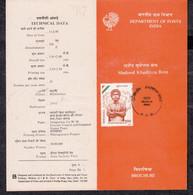 INDIA, 1990, STAMPED BROCHURE WITH INFORMATION, FOLDER,  Khudiram Bose, (1889-1908), Freedom Fighter - Brieven En Documenten