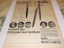 ANCIENNE  PUBLICITE VOTRE CARACTERE A LA POINTE DE VOTRE BAIFAR  1960 - Other