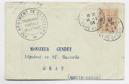 FM 15 MOUCHON ORANGE  LETTRE CHATEAUDUN EURE ET LOIR 14.3.1903 + 1ER REGIMENT DE CHASSEURS - Franchise Stamps
