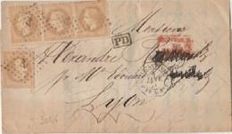 BFE - N°28 X 4 Sur Lettre De CONSTANTINOPLE à Destination De LYON - 1849-1876: Klassik
