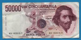 ITALIA    50.000 Lire    06.02.1984  # KD102615T  P# 113b Gian Lorenzo Bernini - 50000 Lire