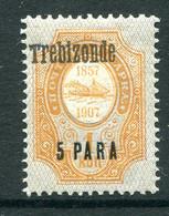 Russia Levant 1909-10 Trebizonde - 5pa On 1k Orange - Black O/P - HM (SG 136) - Levant