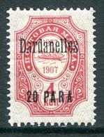 Russia Levant 1909-10 Dardanelles - 20pa On 4k Carmine HM (SG 156) - Levant