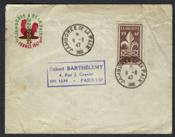 "FRANCE 1947: LSC De Paris, Affr. De 5F Avec Le Y&T 787 Obl. CAD ""Jamborée De La Paix"" - Cartas"