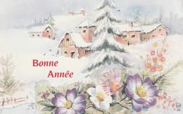 1032 - CARTE BONNE ANNEE MAISONS SAPINS FLEURS PAYSAGE ENNEIGE . ESP 1597 - Neujahr